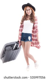 Asian woman with a suitcase on white background.