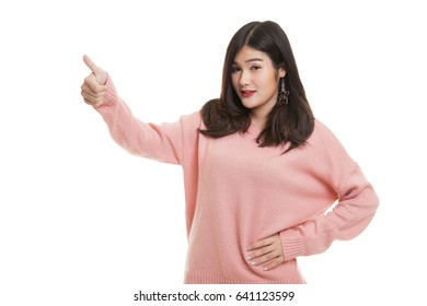 Asian woman thumbs up  and smile isolated on white background