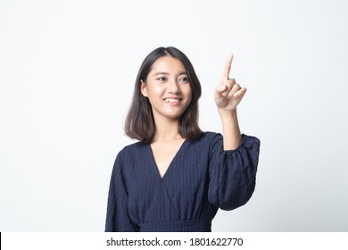Asian woman touching the screen with her finger on white background