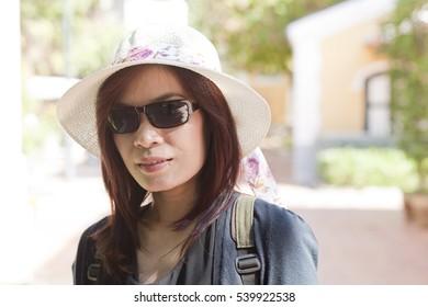 Asian woman tourism portrait