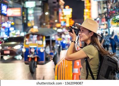 Asian woman travel Bangkok, Thailand, Chinatown street market(Yaowarat)