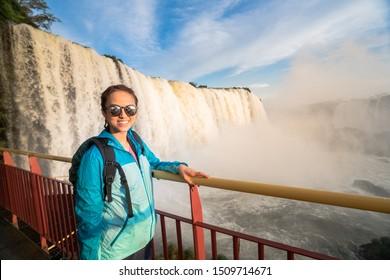 Asian Woman Travel to Iguazu falls, Foz do Iguazu, Brazil