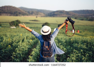Asian woman traveler with backpack holding camera and looking at amazing mountains and forest, travel holiday relaxation concept.
