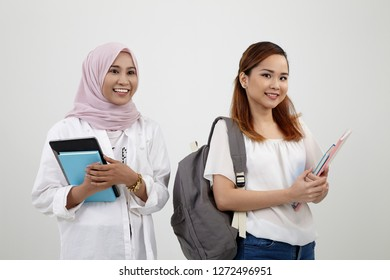 asian woman university student on the white background