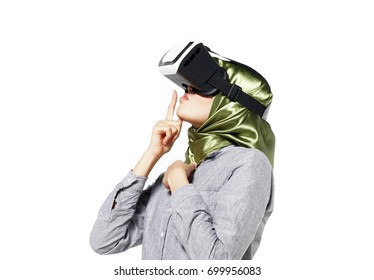 Asian woman using a virtual reality headset with conceptual network
