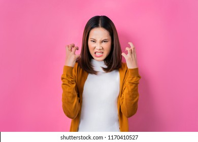 Asian woman are very angry.concept in studio