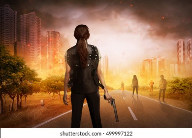 Asian woman with vest and gun want to punish the zombies