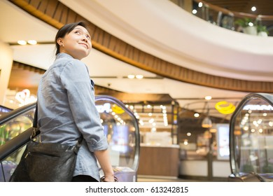 Asian woman walking in Department store. Shopping time.