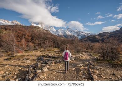 Asian Woman Walking on the Trail, Laguna de Los Tres, Patagonia, El Chalten, Argentina