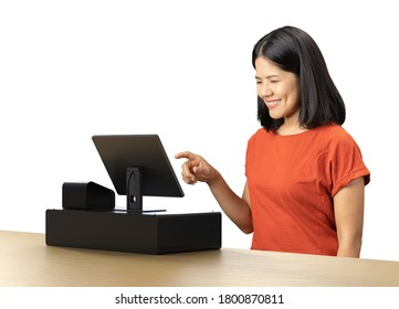 Asian woman wear red t-shirt with cashier desk
