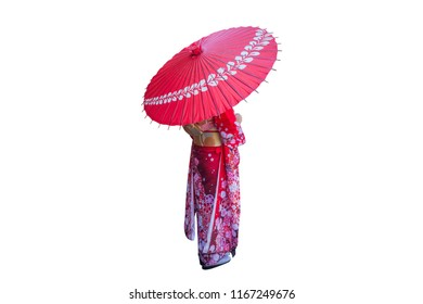 Asian woman wearing japanese traditional kimono with umbrella on white background.