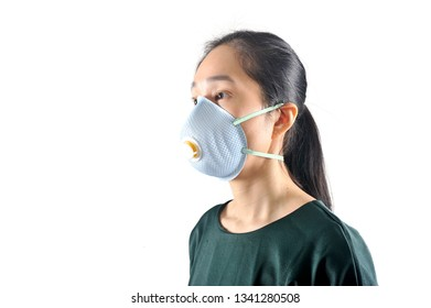 Asian woman wearing a protective face mask in the white background.