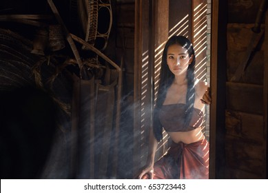 Asian woman wearing traditional culture, vintage style, Thailand