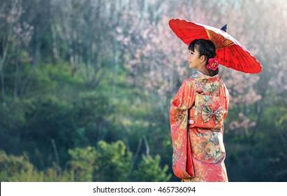 Asian woman wearing traditional japanese kimono, sakura background