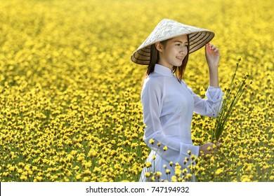 Asian woman wearing traditional Vietnam culture,vintage style,Hanoi,Vietnam