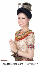 Asian woman wearing typical thai dress  on white background, identity culture of thailand