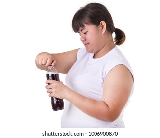 Asian woman wearing white t-shirt and drinking soft drink or water isolated on white background. Healthcare concept