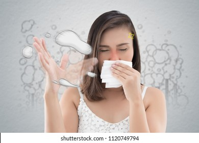 Asian woman in white dress catch her nose because of a bad smell. Against cartoon city background. Poor quality of life in the city.