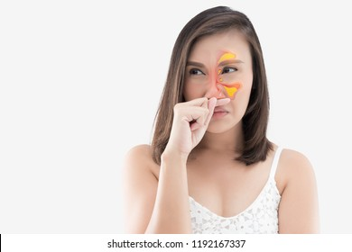 Asian woman in white wear feeling unwell and sinus against white background, Dust Allergies, Flu, People caught cold and allergy