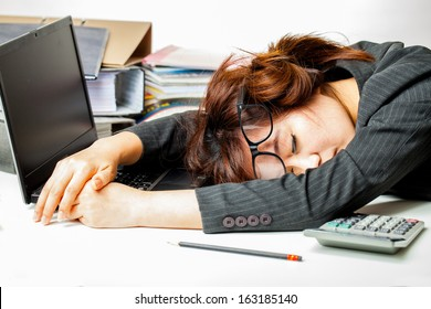 asian woman working hard on white background