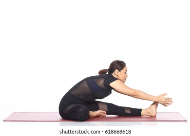 Asian Woman Yoga Teacher Instructor demonstrate each pose of lesson on matte, black dress suite leotard fashion legging, full length, studio lighting white background isolated