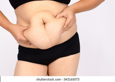 Asian woman's fingers measuring her belly fat on gray background.