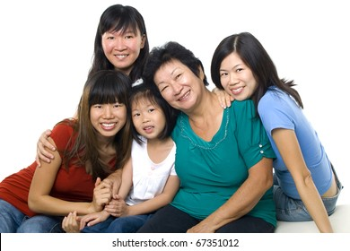 Asian women, 3 generations in white background