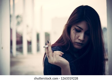 Asian women are drug addicts to inject heroin into their veins,Flakka drug or zombie drug is dangerous life-threatening,Thailand no to drug concept