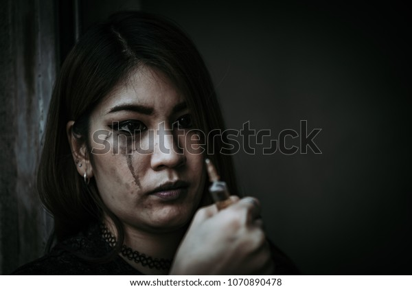 Asian Women Drug Addicts Inject Heroin Stock Photo (Edit Now