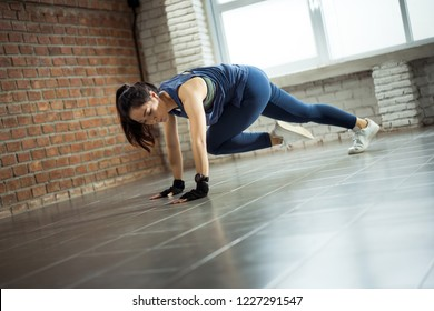 "Asian women exercise indoor at home she is acted ""Mountain climber"""