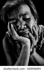 Asian women filling sad ,black and white tone