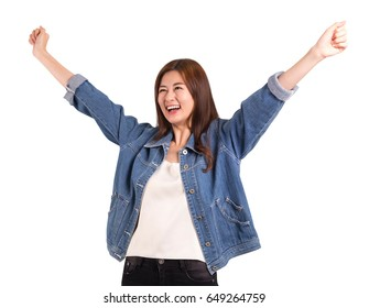 Asian women happiness hand up