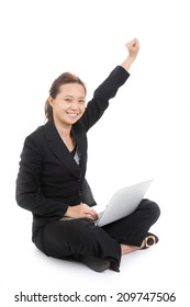 Asian women happiness with her Successful your target