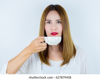 Asian Women Hold a cup of coffee, on white background.