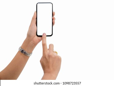 Hand's asian women holding and using smartphone white background.Blank screen for graphics or texts display montage.
