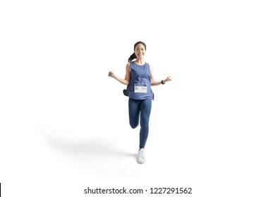 Asian women marathon studio white background. She was pretending to be glad