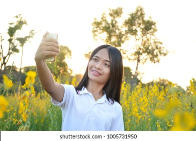 Asian women photographer with a phone in a field of yellow flowers.
