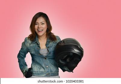 Asian women prepare in a happy mood, color style image