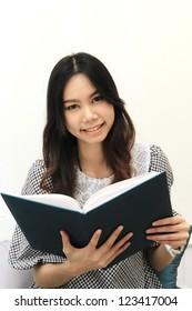 asian women read book