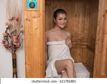 Asian women in Sauna room.