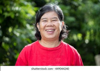 Asian women of smile in the garden ,Thailand people