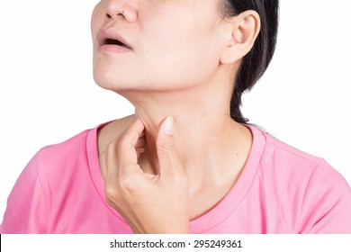 Asian women with sore throat.Isolated on white background.