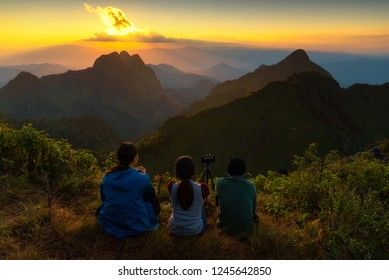 Asian women tourists travel to nature Doi Luang Chiang Dao, the highest point of Chiang Mai's third highest mountain, Chiang Dao, is located in Chiang Mai, northern Thailand.