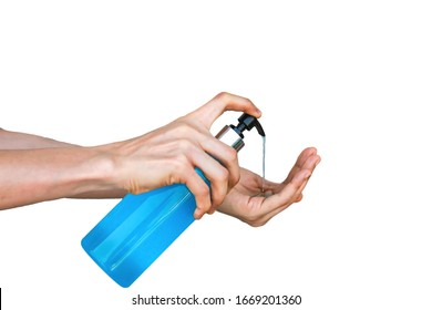 Asian women using hands Press the pump on the hand sanitizer bottle which contains alcohol. Until causing the blue gel to flow out To destroy all types of viruses at hand With white background