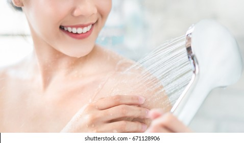 Asian women are using shower