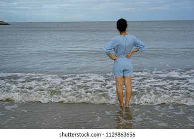 Asian women View of the sea Gulf of Thailand