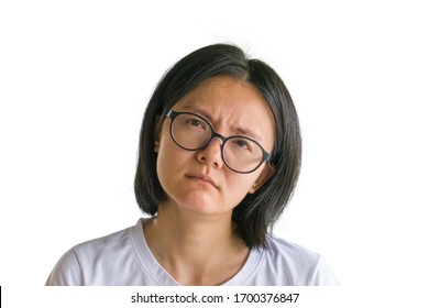 Asian women wearing angry goggles on a white background and clipping path.