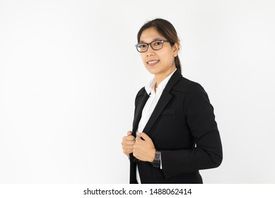 Asian women wearing glasses in a black suit on a white background.