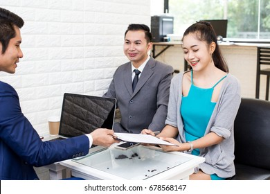 Asian women working at restuarant, Woman interview businessman for working job, Portrait business concept, 20-30 year old.