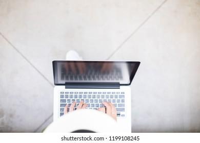 Asian women.Beautiful young Asia woman working with laptop